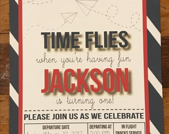 Airplane birthday party invites, Paper Airplane invites
