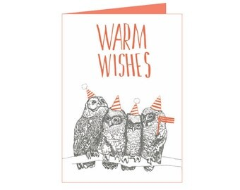 Little owls - Warm Wishes - Newyear card - cute little owls eco card - seasons greetings - holiday wishes
