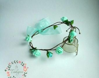 Valintine's day Boho wedding mint flower crown bride floral wreath headband headpiece woodland Flower girl bridesmaide bridal prom party