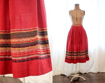 Vintage 1940s 1950s deep cranberry red wool European German Bavarian handmade folk style skirt 40s 50s