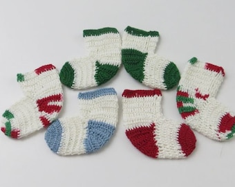 Vintage Hand Crocheted Miniature Bootie Ornaments, Set of 6