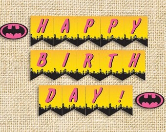 Banner Sign Printable / Downloadable Bat Girl Pink inspired Birthday party PDF