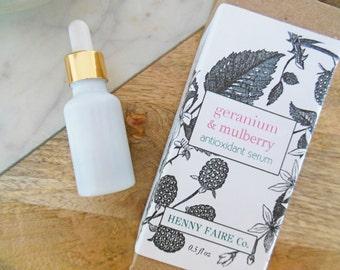 0.3 oz trial geranium & mulberry antioxidant serum   anti-aging serum with coQ10 and black raspberry seed oil