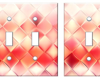 Red abstract decor Light switch cover design faux texture //SAME DAY SHIPPING**