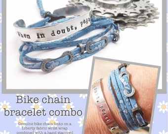 Ladies Bike Chain Bracelet Combo - Cyclist Bicycle Upcycled Recycled