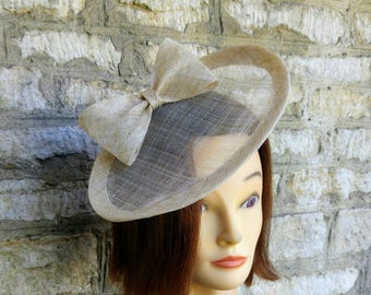 Champagne gold wedding hat  natural beige hat races hat race fascinator cocktail hat races fascinator wedding hat tea party fascinator