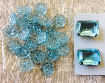 Vintage Aquamarine Glass Buttons 14mm Round (22) & 20mm x 14mm Rectangle (2)