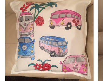 Camper van cushion this can be done in colours of your choice and can vd personalised or adda message on the reverse of the cushion