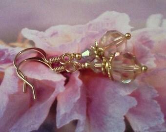 Peach Earrings, Swarovski Crystal Earrings, Light Peach Earrings, Crystal Peach Earrings, Bridal Jewelry, Simple Elegant Earrings, For Her