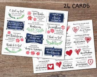 Thank you notes. Random Acts of Kindness. Bible verses. Lunch box cards. Instant download printable. 24 business card size. Pay it forward.