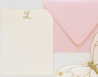 Personalized Stationery Set Pearl Stationary Initial Monogrammed Stationary Gift for Her Stationery for Girls Graduation Gift Thank You Card