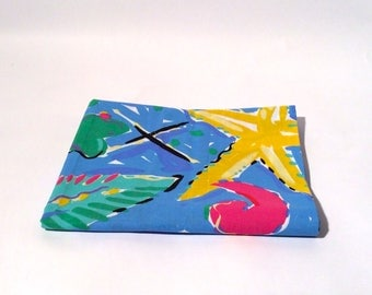 Vintage Late 1980s Cannon Crazy Bright Fish Marine Life Cotton Pillowcase--Looks like Ken Done/Marrimekko-like