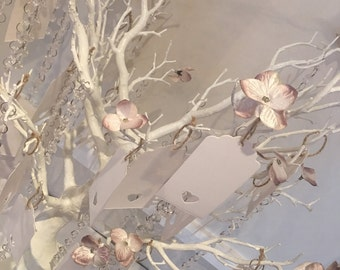 Wishing tree - table decor with flower petals, crystal drops and message tags