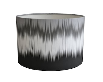 Ikat Drum Lampshade - Monochrome - By Ptolemy Mann
