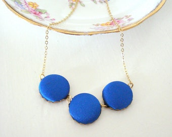 Handmade Button Necklace, Blue Satin Necklace, Fabric Button Necklace, Royal Blue Jewelry