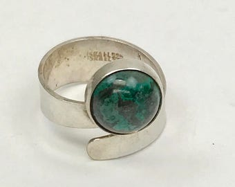 Sterling Silver Chrysocolla Cabochon Bypass Ring Size 6