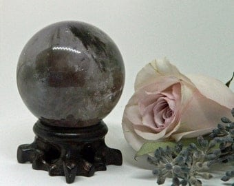 Smoky Amethyst Sphere with Rosewood Stand - A Stone for Purification and Healing