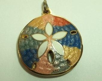 Colorful Gold Enamel Sand Dollar  Pendant