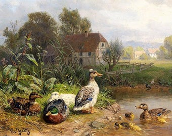 Ducks at the Pond - Counted cross stitch pattern in PDF format