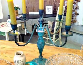 Vintage Candelabra Verdigris Aged Five Arm Candle Stick