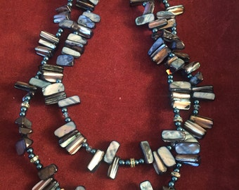 Blue pearl and stone necklace