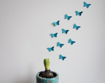 25 x 3D butterflies in turquoise / teal / blue *wall decoration *wall tattoo *butterflies swarm