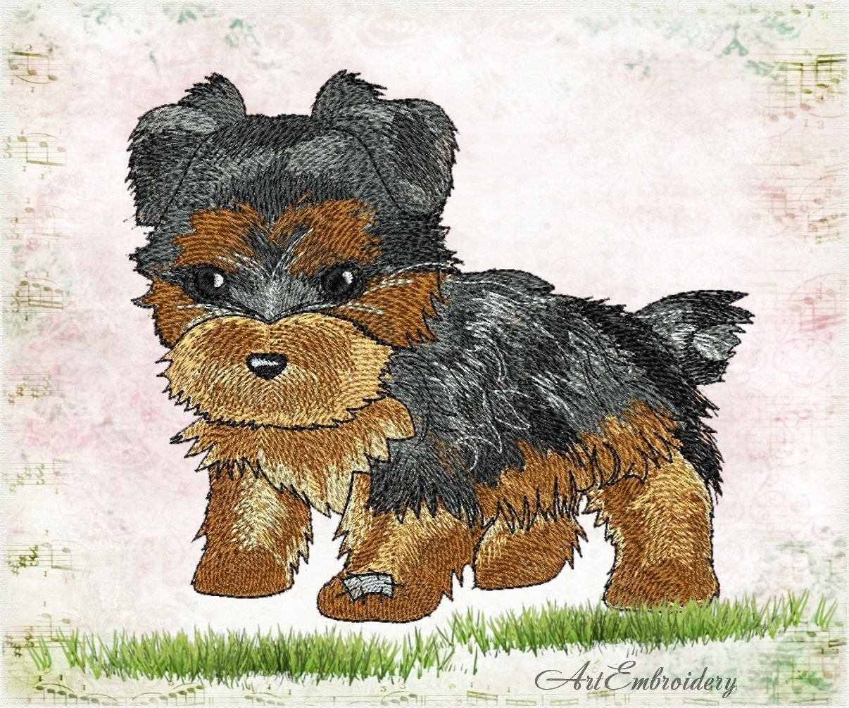 Yorkshire terrier machine embroidery design for a babies