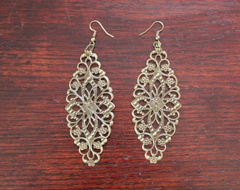 Bronze Metal Filigree Earrings