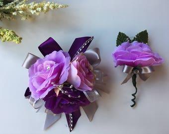 Purple and lavender Wrist corsage/ Prom  Wrist corsage/ Boutonniere/ Wrist corsage/ Purple and lavender Wrist corsage
