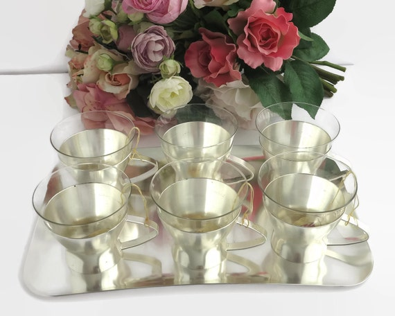 6 mid century cups on matching tray, WMF brand, cups in removable stainless steel holders, original box, made in Germany, circa 1950s / 60s