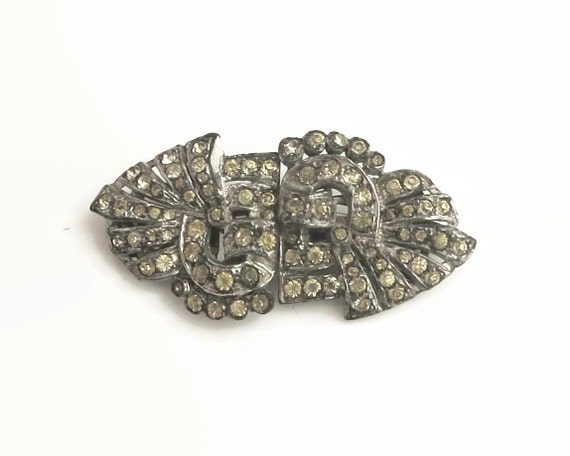 Art Deco rhinestone duette brooch in rhodium plated setting, combination of brooch and dress / fur / shoe clips, circa 1930s