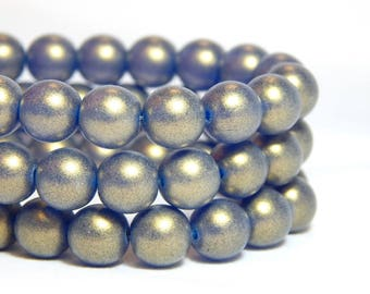 8mm Bronze Blue Beads, Sueded Beads, 8mm Round Beads, 8mm Bronze Beads, 8mm Glass Beads, 8mm Blue Beads, Sueded Gold Capri, T-22A