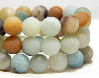 9mm Matte Flower Amazonite, 9mm Matte Mulit-Color Amazonite, 9mm Matte Amazonite, 9mm Frosted Amazonite, Frosted Amazonite, B-21C