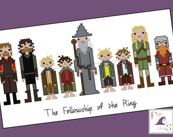 Lord Of The Ring inspired Fellowship of the Ring cross stitch - PDF Pattern - Instant Download