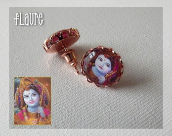 "Earrings chips ""Krishna"""