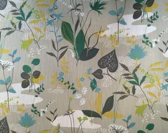 SPIRA Scandinavian Cotton fabric Botanical/ Grey  - Heavy Cotton - 100% Cotton - 59 inches (150 cm) wide