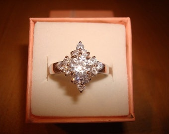 Diamond Cut White Sapphire 925 Sterling Silver Engagement Ring Sizes 6.5 and 7.5
