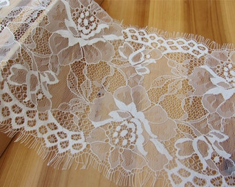 3 Yards Exquisite Chantilly Lace, Eyelash Lace Trim in Black For Wedding, Shawls, Black Skirt, Lingerie,white lace trim