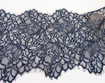 33cm Skirts lace fabric,Black cording Lace ,3 meters off white French Chantilly Lace ,Exquisite Eyelash Lace Trim,Wedding lace fabric