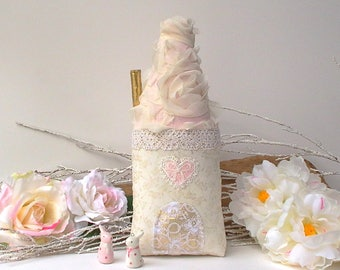 Fairy house, tooth fairy pillow, lace shabby chic push house, White, caramel and coral  Great gift for Birthday, Christmas, baby shower