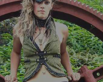 Womens Vest -  Olive Green, Steampunk Festival Clothing, Burning Man, Burlesque, Gypsy, Victorian , Gift for her,  Striped Tuxello Top