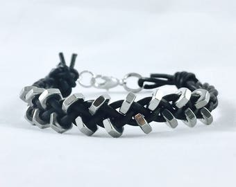 Sterling Silver Hex Nut Braided Black Leather Bracelet