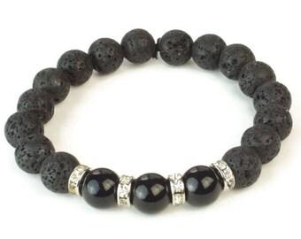Mens Black Onyx Bracelet, Stackable Bracelet, Beaded Bracelet, Lava Bead Bracelet, Silver Men Bracelet, lava bracelet, mens style