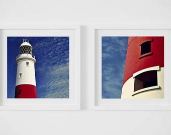 Lighthouse prints, Seaside art, discounted set 8x8, 8x8, art, photography, two 8x8 original prints