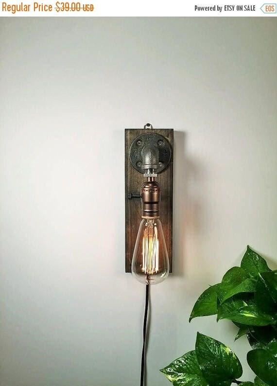25% OFF SALE Industrial wall Lamp - Sconce - Wall Light - Steampunk Lamp  - Edison Lamp - Vintage Light - Pipe Lamp - Bedside Lamp - Loft Li
