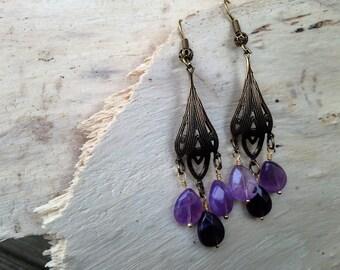 Art Deco  Amethyst Drop Earrings Art Nouveau  Earrings Chandelier Earrings Vintage Earrings Purple Birthstone
