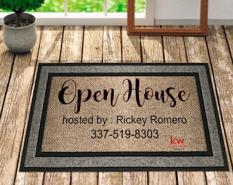 Open House Doormat, Name Doormat, Rug with Family Name, Family Name Gift, Personalized Doormat gift, Last Name Gift, Custom Door Mat