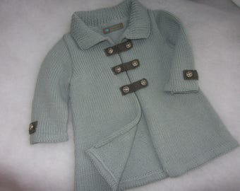 Hand knit alpaca & wool baby coat. Size 12-18 months