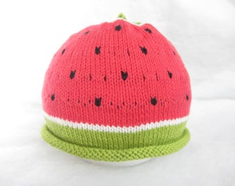 All natural cotton watermelon baby hat. Size 6 months.