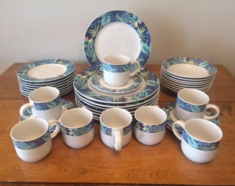 Vintage VitroMaster Key Largo Dinnerware - Svc for 8